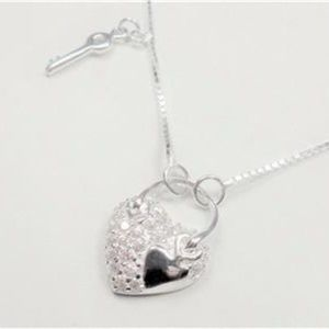 Jewelry - STERLING SILVER HEART WITH KEY SPARKLING NECKLACE